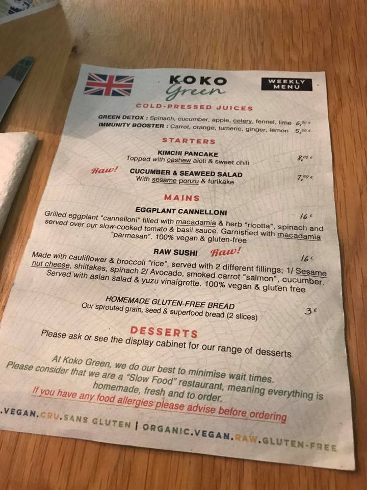 koko green menu